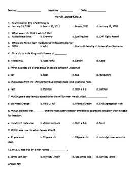 Martin Luther King Information Test and Answer Key