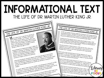 Martin Luther King Jr. Informational Text and Task Cards