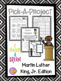 Martin Luther King, Jr. Pick A Project Writing Activities, Choice Boards, Rubric