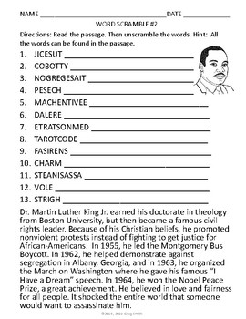 Martin Luther King Jr. Word Scrambles with Informational Text