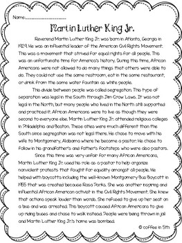Martin Luther King Jr./ Black History Month Activities