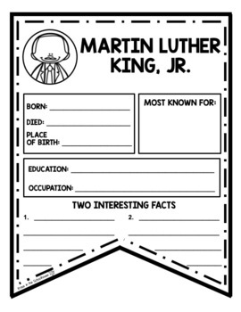 Martin Luther King Research Activities and Graphic Organizers