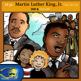 FREEBIE Martin Luther King, Jr. 16 pc. Clip-Art Set 8 BW and 8 Color