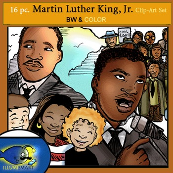 FREEBIE Martin Luther King, Jr. 16 pc. Clip-Art Set 8 BW a