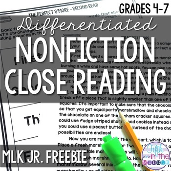 FREE Differentiated Martin Luther King, Jr. Close Reading Texts and Activities
