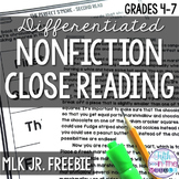 FREE Martin Luther King, Jr. Close Reading Comprehension P