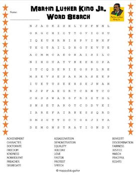 Martin Luther King Day - Free Word Search Puzzle