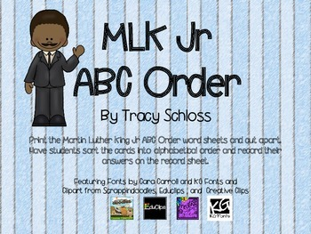 Martin Luther King Jr ABC Order, MLK