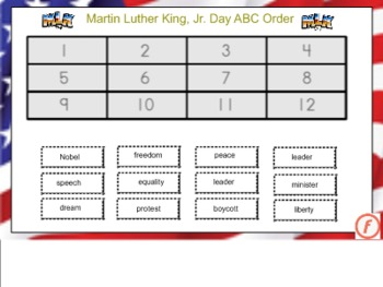 Martin Luther King, Jr. ABC Order for the Smart Board