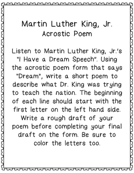 FREEBIE! Martin Luther King, Jr. Acrostic Poem, I Have a Dream Speech