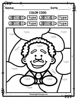 Martin Luther King Jr Activity (EDITABLE Color by Code)