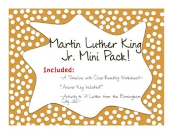 Martin Luther King Jr.: *TWO* Assignments! Timeline and *TEXTS* lesson!