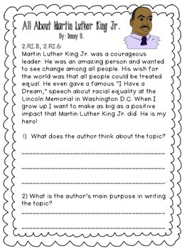 Martin Luther King Jr. Activity Pack- Aligned with CCSS