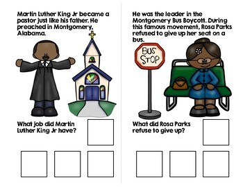 Martin Luther King Jr. Adapted Book (WH Questions)