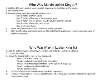 Martin Luther King Jr. DECIMALS  Add and Order Decimals Puzzle