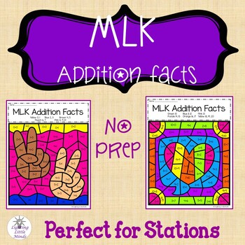 Martin Luther King Jr Addition Color by Number | MLK Mixed Addition Facts