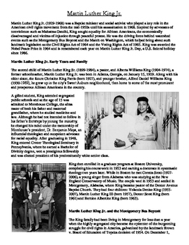 Martin Luther King Jr. Article and Questions