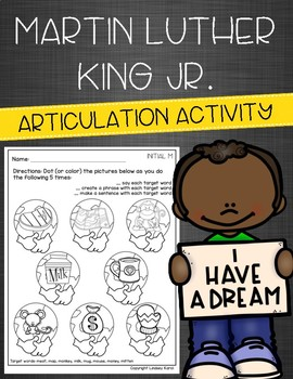 Martin Luther King Jr Articulation Activity