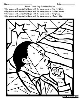 Martin Luther King Jr. Beginning Sounds Hidden Picture