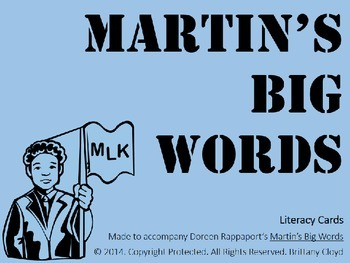Martin Luther King Jr. Big Words Rappaport Task Literacy Flash Center Cards