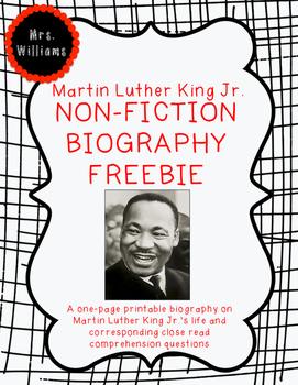 Martin Luther King Jr. Biography FREEBIE