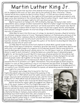 Martin Luther King Jr Biography Freebie By Mrs Williams Tpt