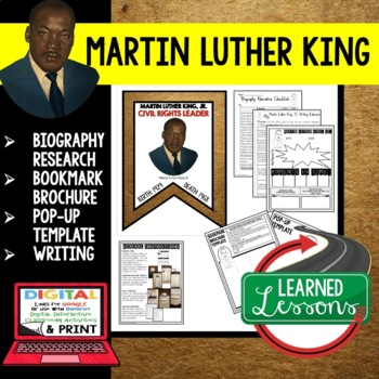Martin Luther King, Jr. Biography Research, Bookmark Brochure, Pop-Up, Writing