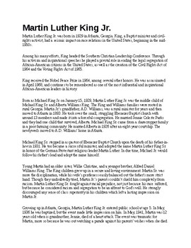 Martin Luther King Jr. Biography and Assignment