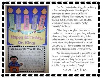 Martin Luther King, Jr. Birthday Cake Craftivity- Grade 1-3