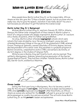 Martin Luther King Jr. Black History I Have a Dream Passage and Activities