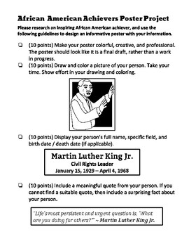February African-American History Month Research Project Poster (with Rubric) !