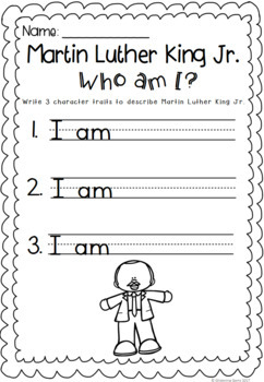 Martin Luther King Jr. Worksheets - Character Trait Activities - Freebie Sampler