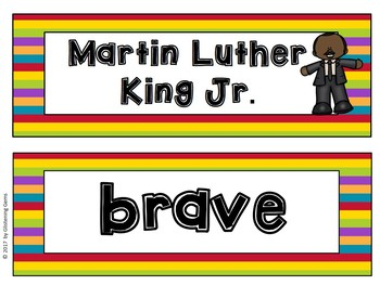 Martin Luther King Jr. - Character Trait Activities and Word Wall Cards