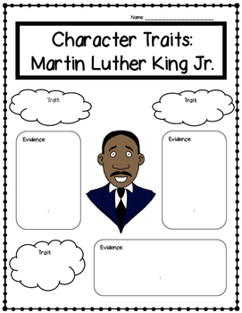 Martin Luther King Jr. Character Traits (Black History Month)