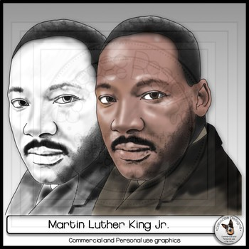 Martin Luther King Jr. Civil Rights Leader Realistic Clip Art Portrait