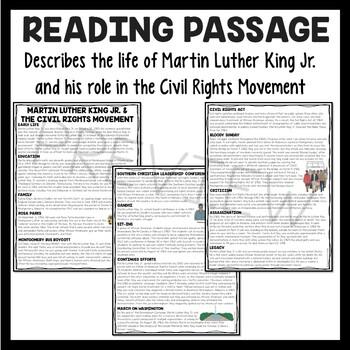 Martin Luther King Jr. & Civil Rights Movement Reading Comprehension Worksheet