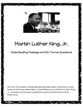 Martin Luther King Jr. Close Reading Passage **FREEBIE**