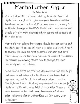 Martin Luther King Jr Close Reading Passage Poem