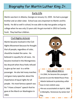 Martin Luther King Jr. Close Reading Passage and Reading Comprehension Sheet