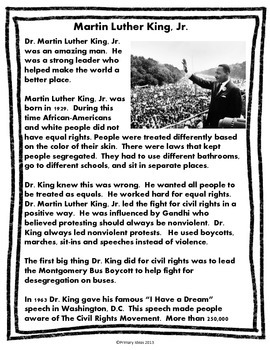 Martin Luther King Jr  Close Reading and Comprehension Activities