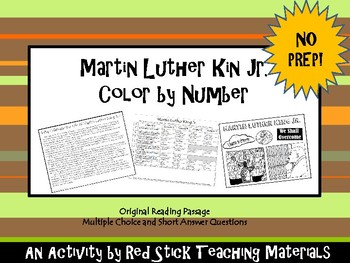 Martin Luther King Jr Color By Number with Reading--NO PREP!