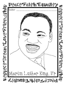 Martin Luther King Jr Coloring Page Freebie By Amelia Vecchio Tpt