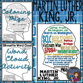 Martin Luther King, Jr. Teen Coloring Page and Word Cloud Activity