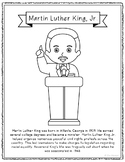 Martin Luther King, Jr. Coloring Page Craft with Biography, Civil Rights