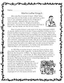 Martin Luther King Jr. Comprehension Passage and Questions