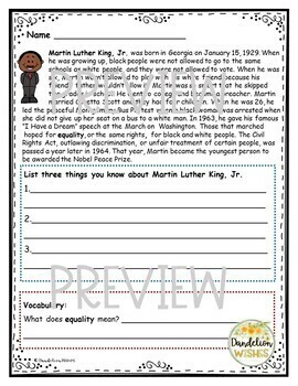 Martin Luther King, Jr. Comprehension Work and Writing Paper