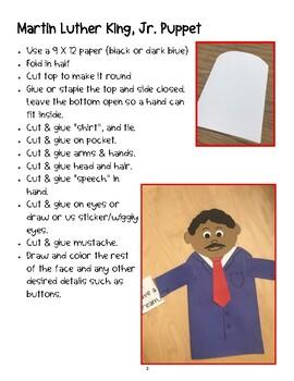 Martin Luther King, Jr. Craft - Puppet