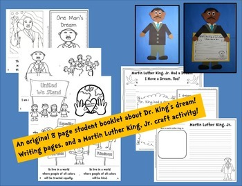 Martin Luther King, Jr. ~ Craftivity,  Color Book, Student Book, Writing Pages
