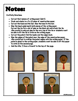 Martin Luther King Jr. ~ Craftivity and Writing
