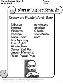 Martin Luther King, Jr. Activities, MLK Day Crossword Puzzle Worksheets